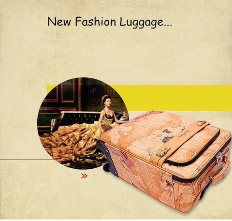 "Wholesale!16 18 20 22 24"" High Quality World Map Pu Leather Travel Luggage Suitcase On Universal"