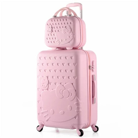 14+20 Inch Hello Kitty Suitcase,Spinner Rolling Luggage,Suitcases On Wheels,Trolley Luggage