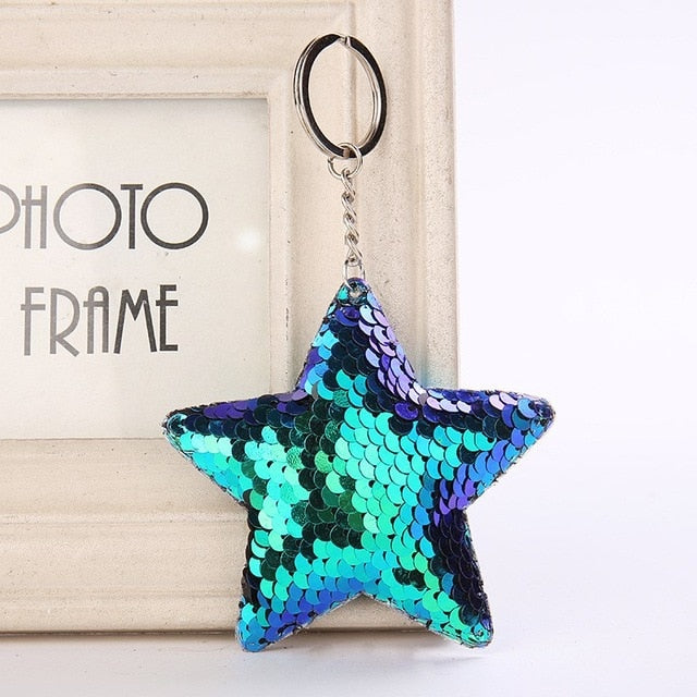 Cute Women Heart Keychain Glitter Sequins Key Ring For Women Handbag Purse Pendants Holder