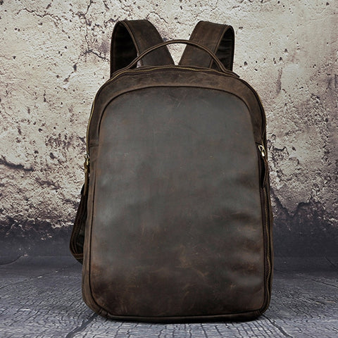 Men Crazy Horse Cowhide Backpack Daypack High Quality Knapsack Large Capacity Genuine Leather