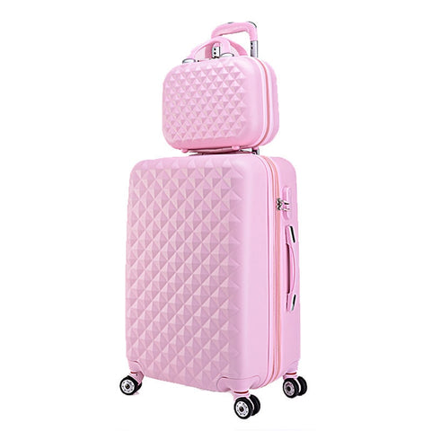"20""+12""Hot Sales Diamond Lines Trolley Suitcase Set/Travell Case Luggage/Pull Rod Trunk Rolling"