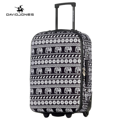 Davidjones Wheel Travel Suitcase Carry On Trolley Bag Fixed Cabin Large Luggage Bag Girl Vintage