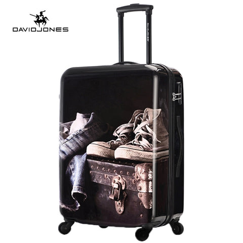 Davidjones Wheel Travel Suitcase Carry On Trolley Bag Spinner Cabin Large Luggage Bag Girl