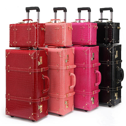 Retro Bag Luggage Set Suitcase Women Men Travel Bags,Leather The Box Pu Trolley Cosmetic Case,New