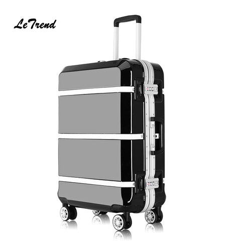 Letrend Retro Black Aluminium Frame Spinner Rolling Luggage Cabin Suitcases Wheels Vintage