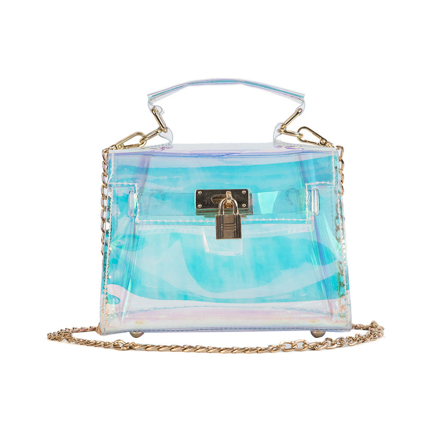 Ladies Transparent Holographic Handbag Shoulder Bag Shining Cross Body Bag With Chains