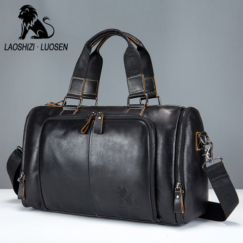 Laoshizi Luosen Men'S Genuine Leather Handbag Men Travel Bags Large Capacity Big Male Duffel