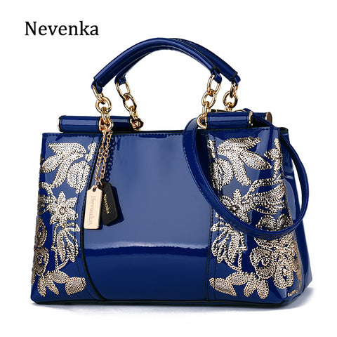 Nevenka Luxury Evening Bags Women Leather Handbag Embroidery Shoulder Bags Female Purses And