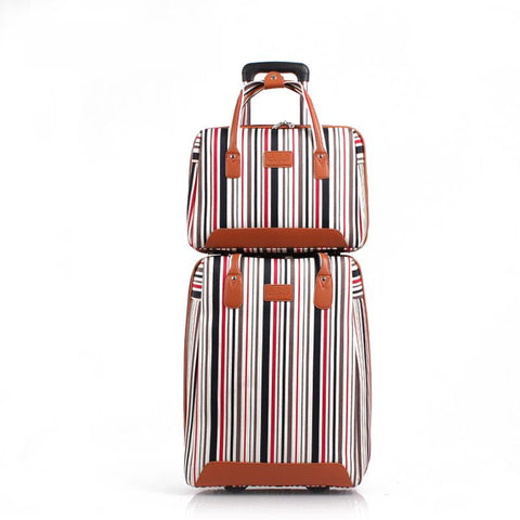 Women Oxford Plain Stripe Travel Luggage And Handbag 2Pcs Set Men 20 Inch Carry-On Boarding