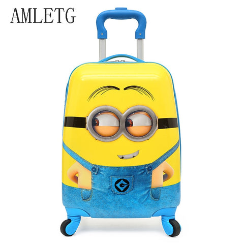 Amletg  2018 Cartoon Kids Travel Trolley Bags Suitcase For Kids Children Luggage Suitcase Rolling