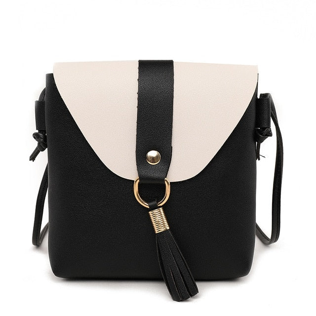 Fsislover New Pu Leather Women Bucket Shoulder Bag Fashion Panelled Tassel Crossbody Bag Female