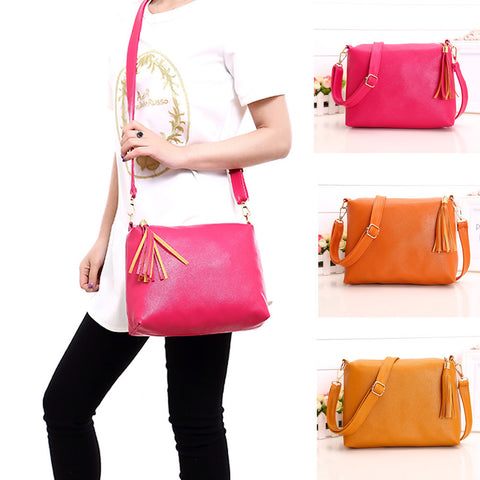 Fashion Women Tassel Leather Bag Crossbody Shoulder Messenger Bags