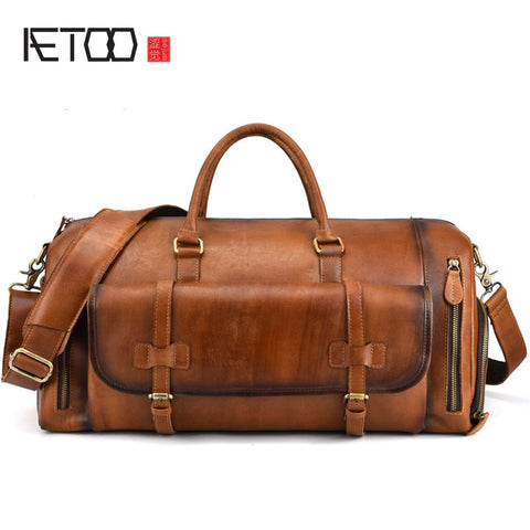 Aetoo Leather Men'S Handbag Big Bag Retro First Layer Leather Travel Bag Duffel Bag Large
