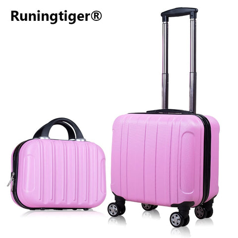 "2Pcs Carry On Travel Suitcase Women Laptop Luggage Stripe Pattern Small Luggage 18"" Spinner"