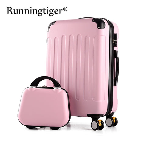 "Rolling Luggage 2Pcs 14+24 26"" Suitcase Trolley Abs + Pc Travel Bag Suitcase Student Password Box"
