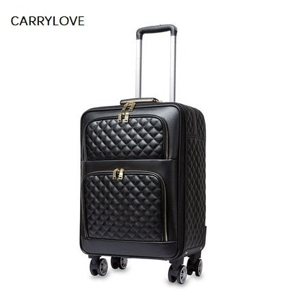 Carrylove Extravagant Elegant 16/20/24 Inch Size High Quality Embroidery  Pu Rolling Luggage