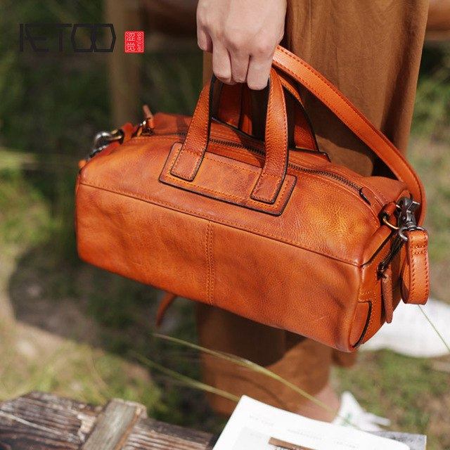 Aetoo New Handbag Casual Retro Handmade Leather Art Single Shoulder Diagonal Package Tide