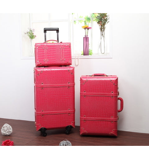 Hot Sale!Korea Fashion Style Pu Leather Travel Luggage Bags  Sets,Women 14 22 24Inches Trolley