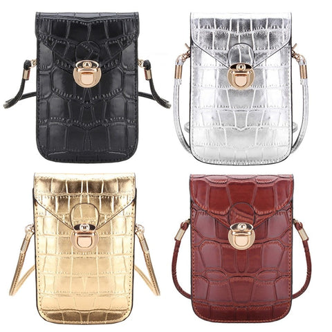 Osmond Silver Mobile Phone Mini Bags Small Clutches Shoulder Bag Crocodile Leather Women Handbag