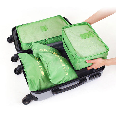 Travel Waterproof Nylon Zipper Mesh Storage Bag Set For Clothes Pouch Luggage Organizer Container