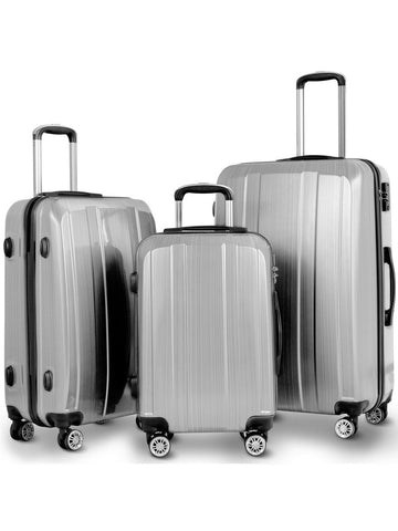 Costway 20'' 24'' 28'' 3Pc Luggage Set Abs+Pc Trolley Suitcase Spinner W/Tsa Lock
