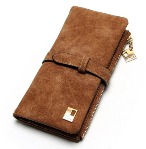 2018 New Fashion Women Wallets Drawstring Nubuck Leather Zipper Wallet Women'S Long Design Purse