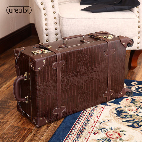 "2018 new retro Crocodile skin leather luggage bag brown and black suitcase 20""24"" genuine leather high quality free shipping"