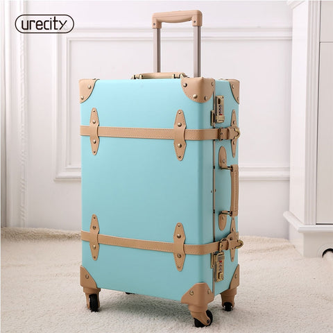"2018 Retro Luggage Spinner Rolling Pu Suitcase Hand Made Genuine Leather Travel Suitcase 20""22"""