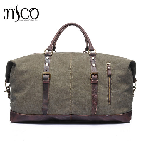 Melodycollection Canvas Leather Men Travel Bags Carry On Luggage Bags Men Duffel Tote Large
