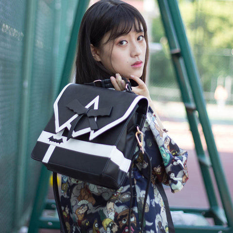 Japanese Girl College Bow Jk Uniforms Backpack Punk Darkness Gothic Five Star Women Girl Black Pu
