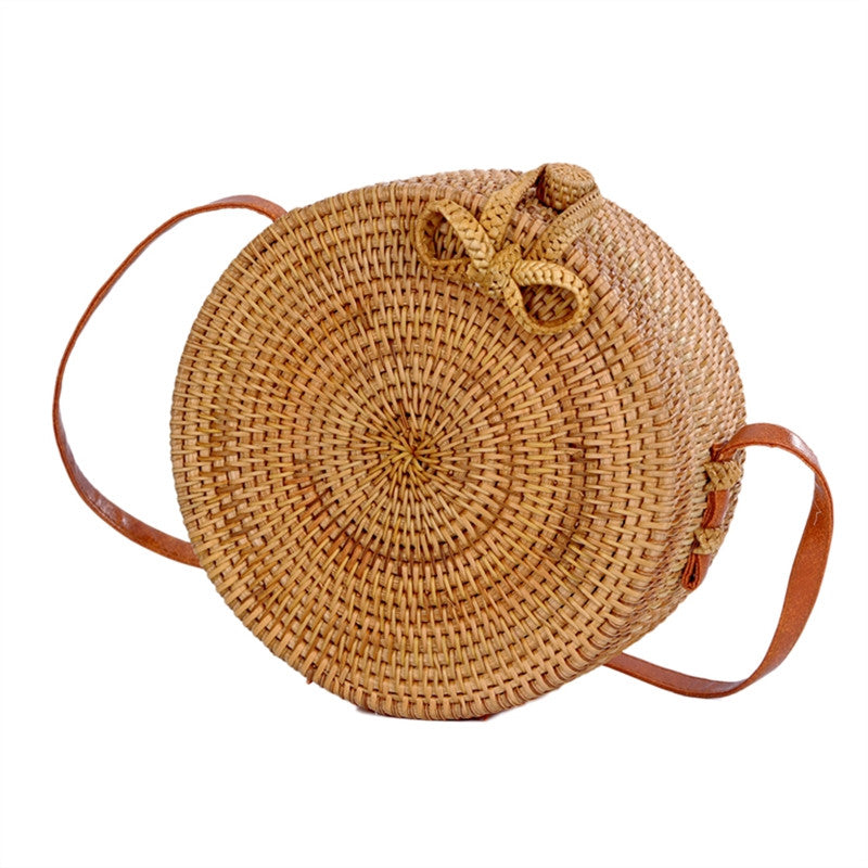 Women Crossbody Bag Round Handmade Rattan Weaving Ethnic Double Sided Oblique Shoulder Bag