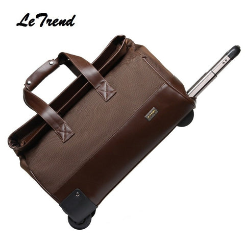 Letrend New Fashion  Waterproof Rolling Luggage Business Travel Bag Checked Luggage Trolley Men