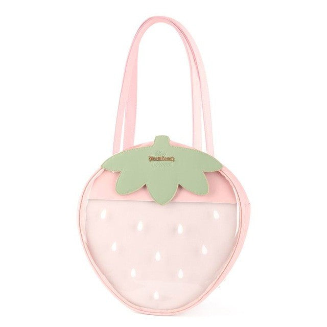 Strawberry Bags Kawaii Clear Transparent Lolita Harajuku Women Shoulder Bags Candy Color Lovely Ita