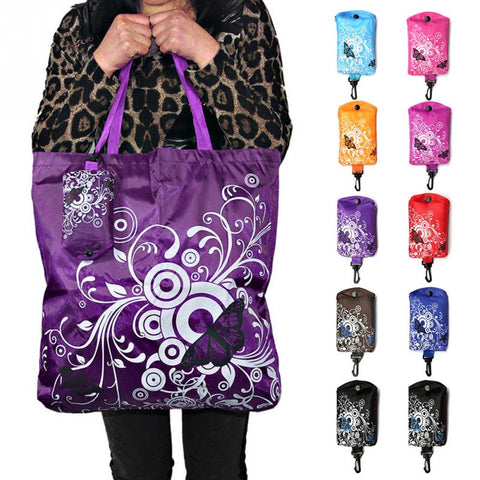 Foldable Shopping Bag Butterfly Flower Oxford Fabric Shoulder Bag Portable Eco-Friendly Grocery