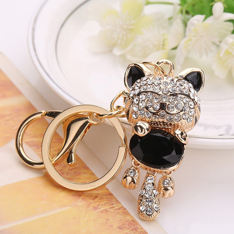 Lucky Smile Cat Crystal Rhinestone Charms Charms Tote Bag Purse Holder For Car Christmas Gift