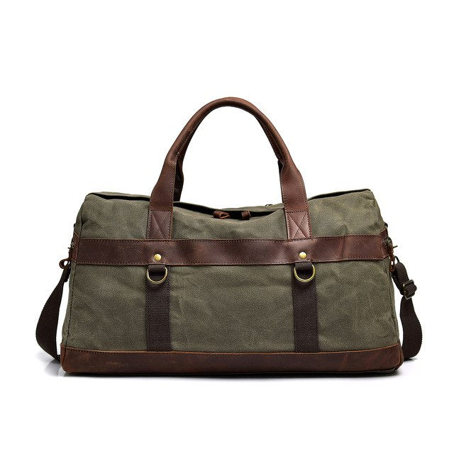 Crazy Horse Leather Canvas Travel Bag Large Capacity Luggage Bag Men Shoulder Travel Duffel Bags