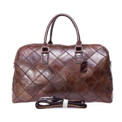 Genuine Leather Travel Duffel Bag Men Packing Cubes Travel Luggage Organizer Large Capacity Leather