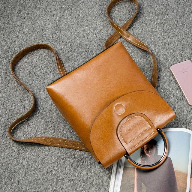 Vintage Genuine Leather Backpack Female Stylish Small Oix Wax Real Leather Bagpack For Girls