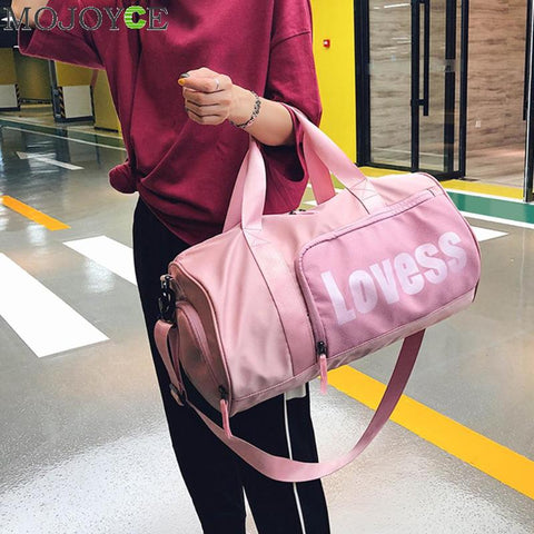 Fashion Unisex Letter Travel Bag Women Training Gym Shoulder Handbag Men Nylon Sports Tote