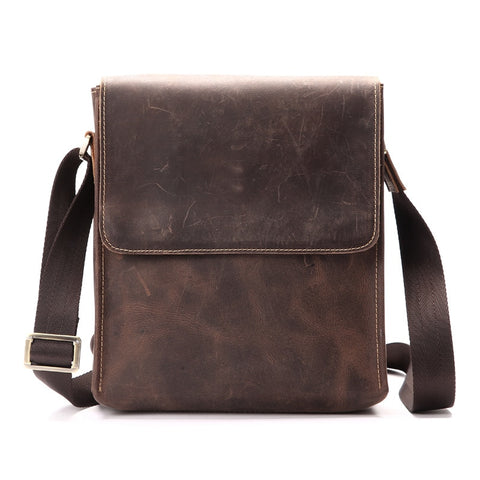 Men'S Leather Briefcase Messenger Bag Men'S Handbag Leather Bag Crazy Horse Skin