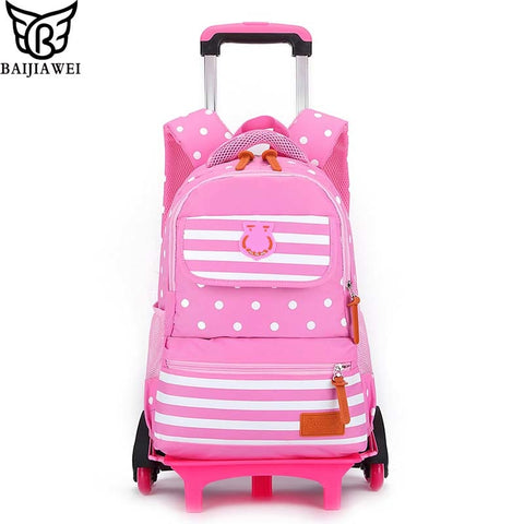 Baijiawei Six-Wheeled Removable Trolley Backpack Spine Protection School Bags Boys Girls Waterproof