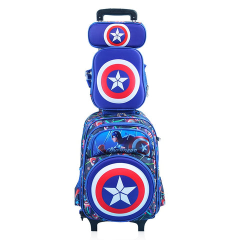 Hot 4Pcs/Set Climb The Stairs School Bag Cartoon Captain America Students Suitcase Children Luggage