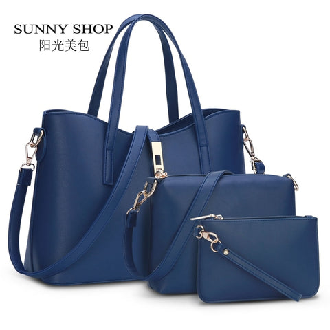 Sunny Shop  European And American Fashion Brand Designer Women Handbags High Quality Pu Leather