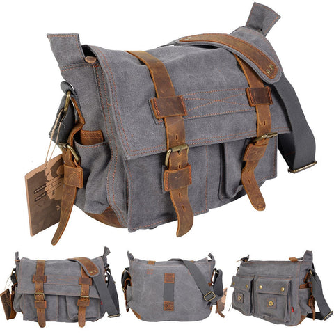 Costway Men'S Vintage Canvas Leather School Military Shoulder Messenger Bag (Gray)