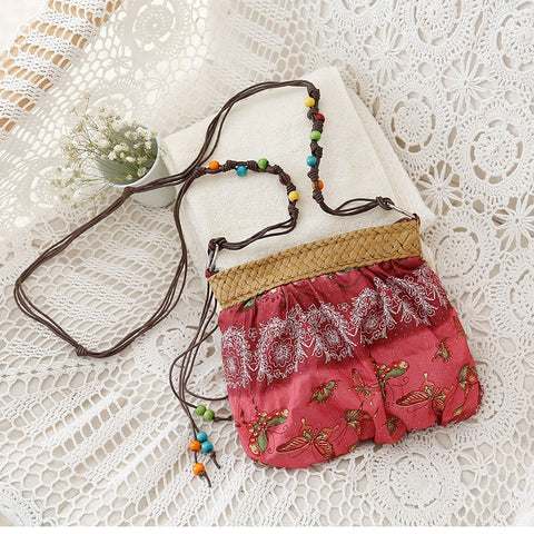 Summer Straw Bags For Women Mini Boho Bag Bohemian Floral Printing Strap Bag Ladies Handbags
