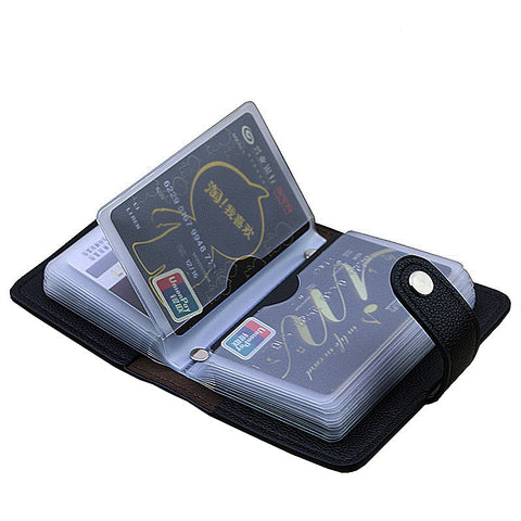 New 24 Slots Fashion Pu Leather Business Card Holder Organizer Hasp Men Women Bank Credit Card