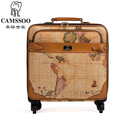 New Fashion!Female/Male Vintage World Map Travel Luggage Bags Sets,16 20 22 24Inches Retro