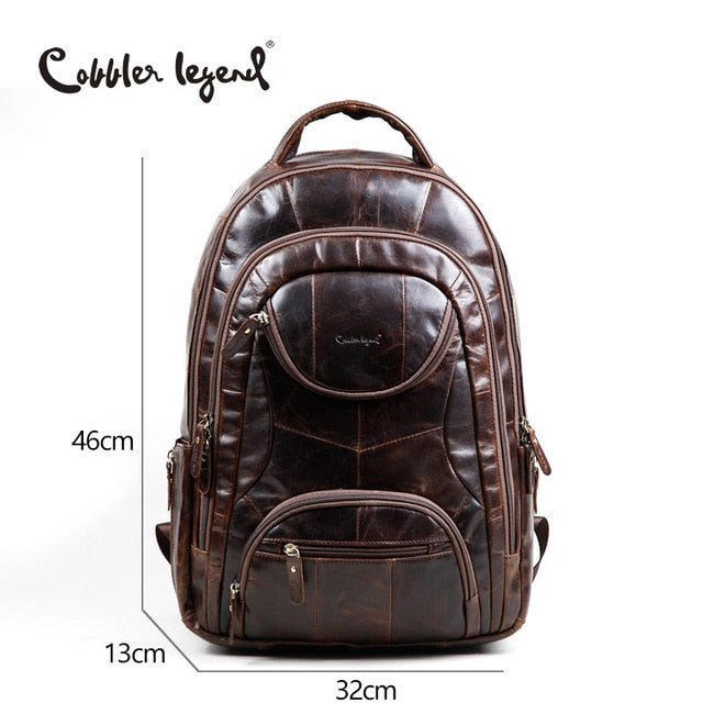 Cobbler Legend Famous Brands 2018 Men Large Capacity Cow Leather Backpack Big Size Travel Bags