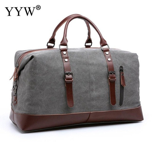 Yyw Canvas Leather Large Capacity Men Travel Bags Carry On Luggage Bags Men  Bags Travellling
