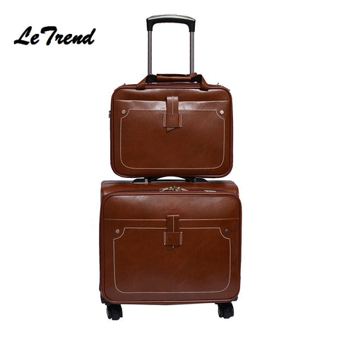 Letrend Men Business Pu Leather Rolling Luggage Set Spinner Retro Trolley 18 Inch Carry On